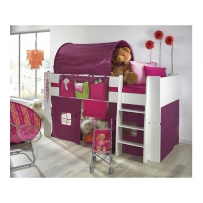 Zvýšená postel Dash komplet - bílá/lila 083402