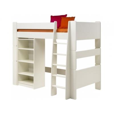 Vyvýšená postel s regálem Dash - bílá 083407