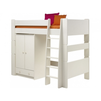 Vyvýšená postel se skříní Dash - bílá 083408
