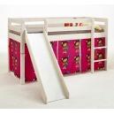 Vyvýšená postel se skluzavkou Alois - masiv/bílá