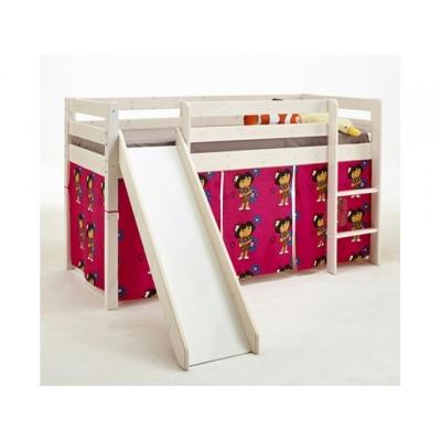 Vyvýšená postel se skluzavkou Alois - masiv/bílá 083462