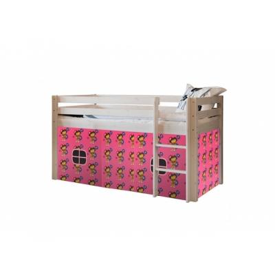 Vyvýšená postel s textilním domečkem Alois - bílá 083464