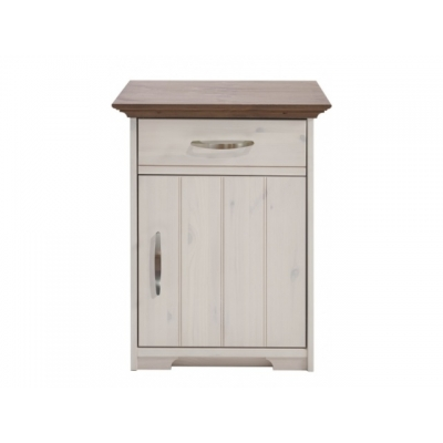Noční stolek Hans - bílá/hnědá 083513