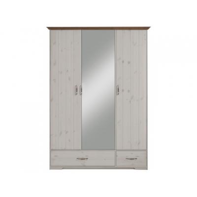Šatní skříň Hans 3D - bílá/hnědá 083517