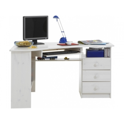 Rohový psací stůl Keren - bílá 083527