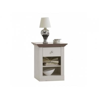 Noční stolek Moris - bílá/ hnědá