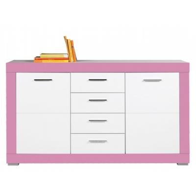 Dětská komoda Julien 2D4S - bílá/růžová