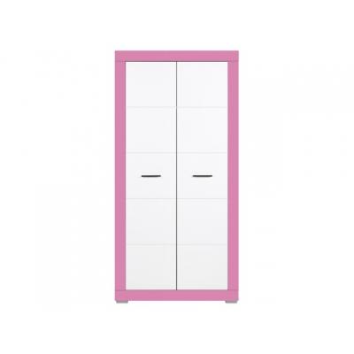 Dětská šatní skříň Julien 2D - bílá/růžová 083629