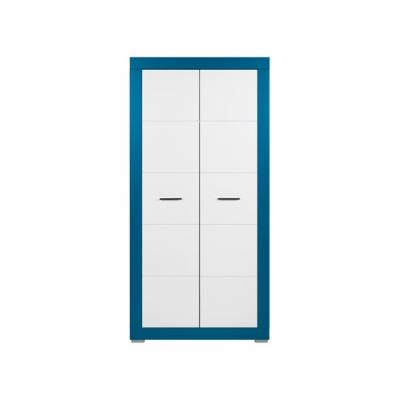 Dětská šatní skříň Julien 2D - bílá/modrá