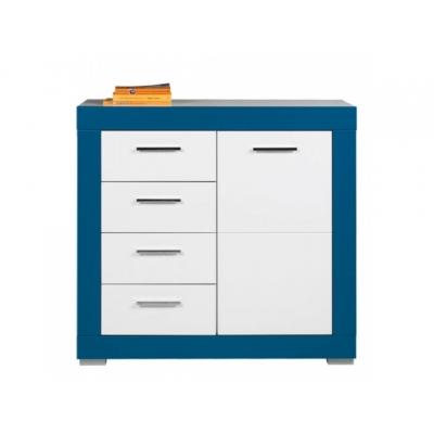 Dětská komoda Julien 1D4S - bílá/modrá