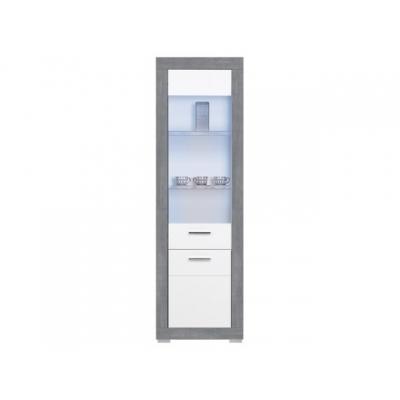 Vitrína vysoká Julien -  bílá/šedá