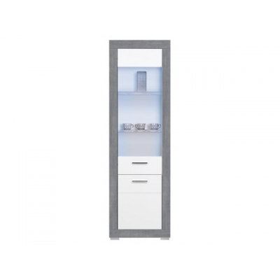 Vitrína vysoká s osvětlením Julien -  bílá/šedá