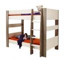 Patrová postel Dany 90x200 cm - bílá/hnědá