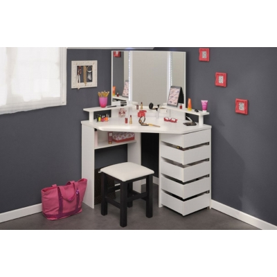 Toaletní stolek se stoličkou Bingo - bílá 301724