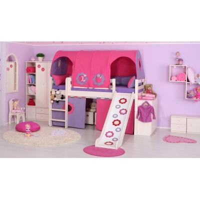 Dětská masivní vyvýšená postel se skluzavkou 083057