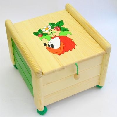 Dřevěný box na hračky s víkem Ježek KV 2 Kontejner