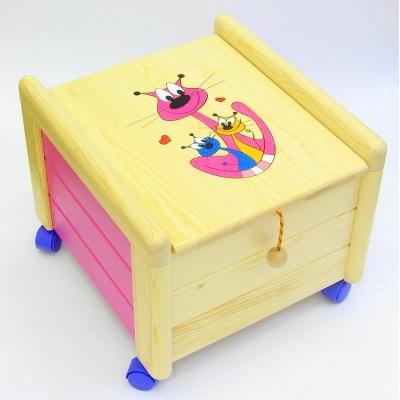 Dřevěný box na hračky s víkem Kočka s koťaty KV 4 Kontejner