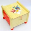 Dřevěný box na hračky s víkem Motýlci