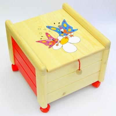 Dřevěný box na hračky s víkem Motýlci KV 6 Kontejner