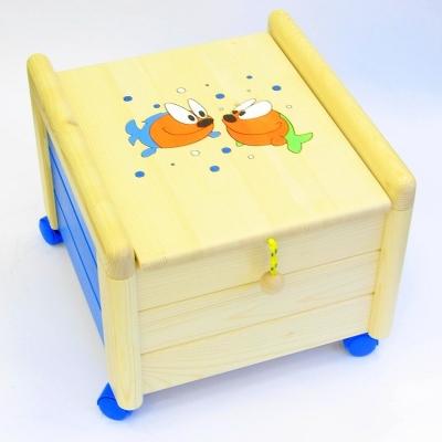 Dřevěný box na hračky s víkem Rybky KV 8 Kontejner