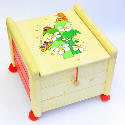 Dřevěný box na hračky s víkem Tráva KV 1 Kontejner tráva