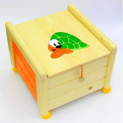 Dřevěný box na hračky s víkem Želva