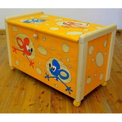 Dřevěná truhla na hračky Myši v sýru
