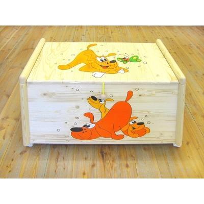 Dřevěná truhla na hračky Psi