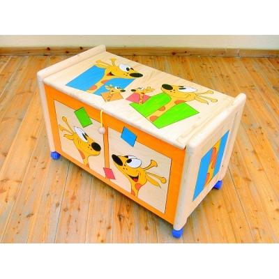 Dřevěná truhla na hračky Žirafy
