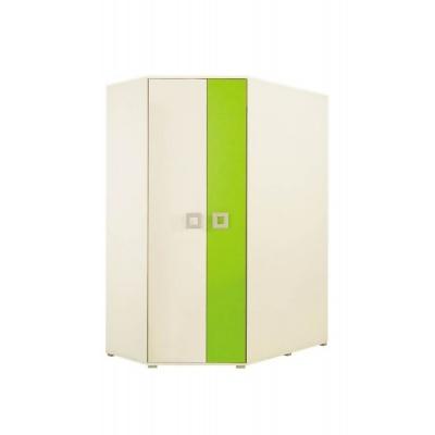 Rohová šatní skříň Baron - krémová/zelená