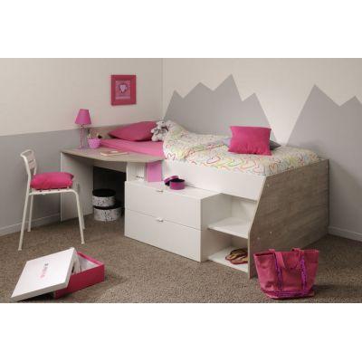 Dětská postel vyvýšená Eva - bílá/šedá