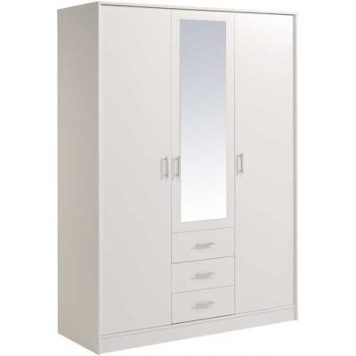 Šatní skříň General 3D3S se zrcadlem - bílá