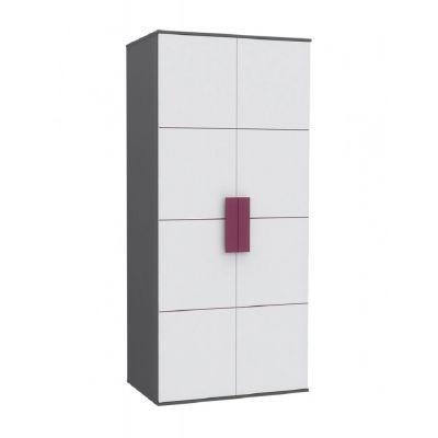 Šatní skříň Polo - šedá/bílá/fialová