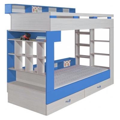 Patrová postel s úložným prostorem Adéla - modrá 080872