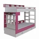 Poschodová posteľ s úložným priestorom Adéla - ružová