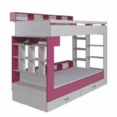 Patrová postel s úložným prostorem Adéla - růžová 080823
