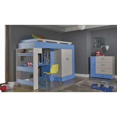 Vyvýšená postel s psacím stolem a skříní Adéla II - modrá