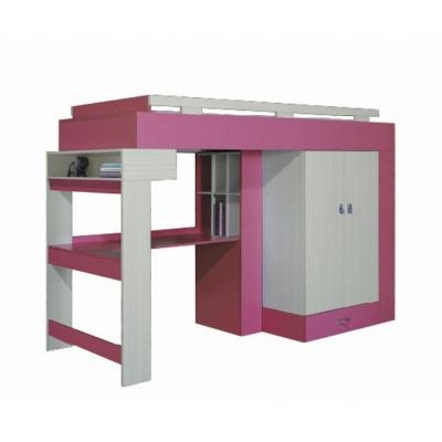 Vyvýšená postel s psacím stolem a skříní Adéla II - růžová