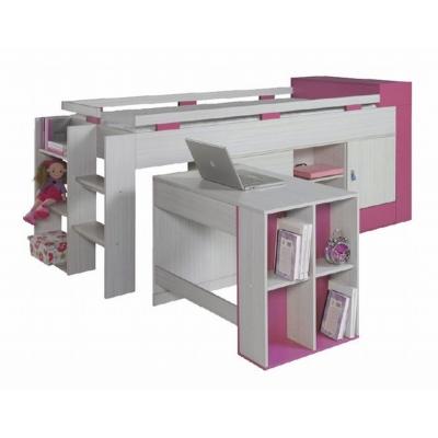 Vyvýšená postel s psacím stolem a skříní Adéla - růžová 080234