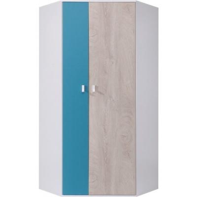 Rohová skříň šatní PHILOSOPHY - bílá / modrá L/P