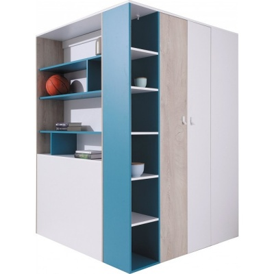 Šatní skříň kombinovaná PHILOSOPHY - bílá / modrá L/P