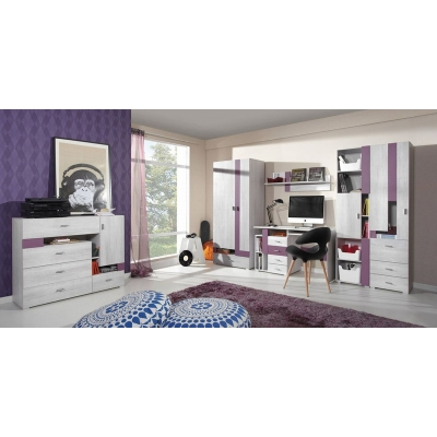 Dětský pokoj Delbert A - fialový nebo popelový odstín