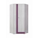 Rohová šatní skříň Delbert 2 - fialová nebo popelová barva
