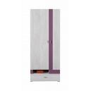 Šatníková skriňa Delbert 3 - fialová alebo popolníkové farba