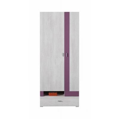 Šatní skříň Delbert 3 - fialová nebo popelová barva