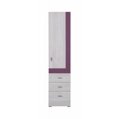 Úzká skříň Delbert 4 - fialová nebo popelová barva 1181069