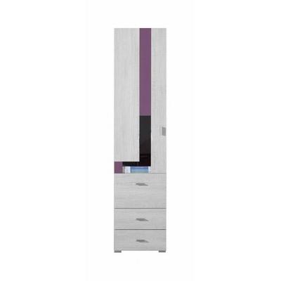 Úzká skříň Delbert 5 - fialová nebo popelová barva
