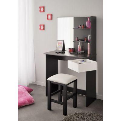 Toaletní stolek Kala se stoličkou - bílá/černá
