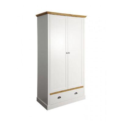 Šatní skříň Toskania 2D1S - bílá/přírodní