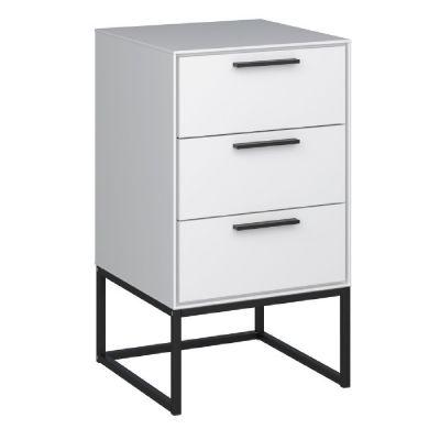 Noční stolek Bory se 3 zásuvkami - bílo/černý
